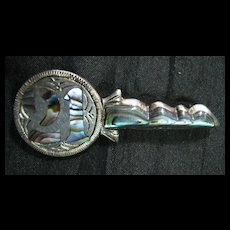 Sterling Silver & Paua Shell 21st  KEY Brooch Circa 1940's