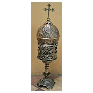 A Superb Old Bronze Monstrance Ostensorium  of Byzantine Design