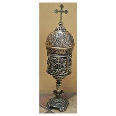 A Superb Old Bronze Monstrance Ostensorium  of Byzantine Design