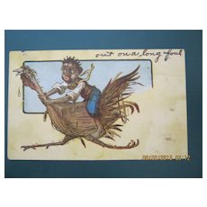 """Black American Postcard """" Out On A Long Foul"""""""