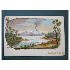 Lake Taupo  & Maori Pa New Zealand -  Old Postcard Dated 1909