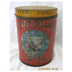 "Large  Tobacco Tin  ""CUT PLUG No. 10""  National Tobacco Co. New Zealand"