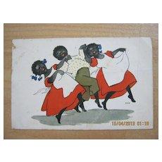 """Black American Postcard  """"Piccaninny's Dancing"""""""