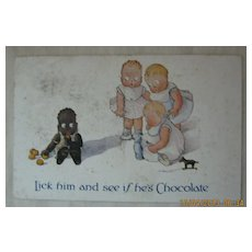 """Black American Postcard  """"Lick Him and See If He's Chocolate"""""""