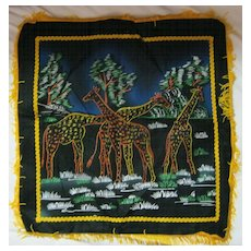 "RETRO ""African Giraffes"" Tourist Cushion Cover"