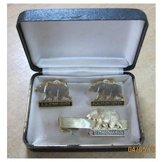 S.S. MONTEREY Boxed Set Souvenir Cufflinks & Tie Pin