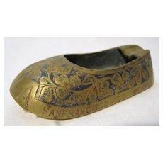 TWA Airlines 'Indian' Brass Slipper 'Bombay to San Francisco'