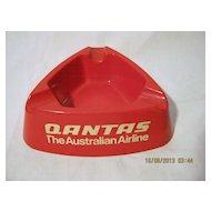 QANTAS Red Plastic Promotional Ashtray - Circa 1960's-70's