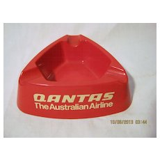QANTAS Red Plastic Promotional Ashtray - Circa 1960's-70's