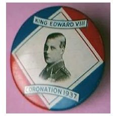 RARE 1937 King Edward V111 Coronation Badge