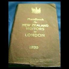 1939 New Zealand Visitors To London Handbook