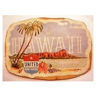 Vintage United Airlines Hawaii Baggage  Sticker