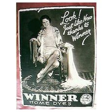 "Vintage  ""Winner Home Dyes"" Advertising Counter Card Circa 1940's"