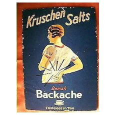 "Vintage Advertising Counter Card ""Krushen Salts"" Circa 1940's"