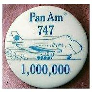 Vintage PAN AM 747 One Million Passengers Badge