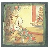 """Vintage Tin Pocket Game """" Queen of Hearts """" Circa 1920's-40's."""