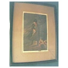 Antique Oil Painted Engraving of Napoleon Circa Early 1800's