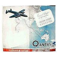 """WW11 Vintage Qantas Empire Airways """"Indian Ocean Crossing"""" Pamphlet"""