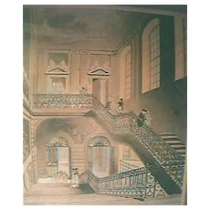 """Antique 1808 Engraving """"British Museum, The Hall & Staircase"""""""