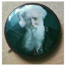 """Vintage """"William Booth"""" Salvation Army Chromolithographic Badge Circa Early 1900's"""