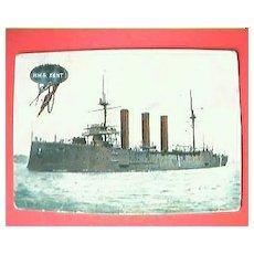 "Vintage British Naval Postcard ""HMS KENT"" 1909"