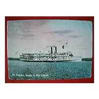 "Vintage Postcard Canadian Steamer ""KINGSTON"" Circa 1911"