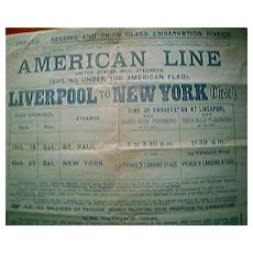 1915 American Line Shipping Embarkation Notice