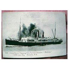 "Vintage Shipping Postcard Union Steam Ship Co  ""MAHENO"""