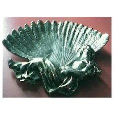 """Edwardian Art Nouveau """"Reclining Lady"""" Brass Pin Dish"""