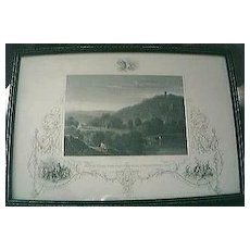"""Antique American Engraving """"Monte Video The Residence of D. Wadsworth Esq."""" Circa Early - Mid 1800's"""