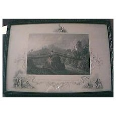 """Antique American Engraving """" Headwaters of The Juniata Alleghany Mountains, Pennsylvania"""" Circa Early - Mid 1800"""