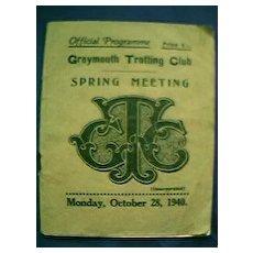 1940 Greymouth Trotting Club Spring Meeting Programme