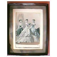 "French Antique Engraved Print  ""Le Monde Elegant"" 1867"