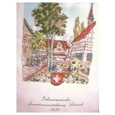 Vintage Tapestry of Zurich 1939