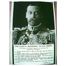 "WW1 King George ""Message to the Armies"" Postcard"