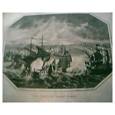 """Antique Engraving """"The Defeat of The Spanish Armada"""" 1804"""