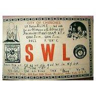 Short Wave Radio Broadcast Registration Card 1935