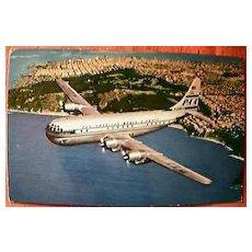 """PAN AM Super """"Strato"""" Clipper Postcard Circa 1940's"""