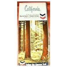 Standard Oil CHEVRON California Travel Map 1964