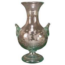 1900's Blown Czech Bohemian Green Bubbly Glass Ship Boat Cut Etched Vase