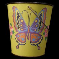 1960's J Chein Co Child Polychrome Butterfly Can Tin Toy Litho Sand Pail Bucket