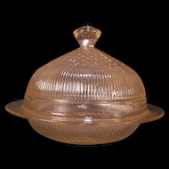 "40's Pink Elegant Glass ""Homespun"" Jeannette Fine Rib Cheese Butter Dish Tub"