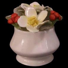 Vintage Bone China Staffordshire England Flower Basket Bouquet Strawberries Vase