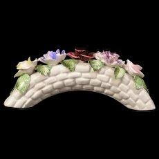 Vintage Bone China Porcelain Staffordshire Bridge Arch Flower Bouquet Vase Rose