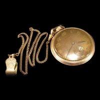 Vintage Art Deco Gold Filled Jeweled Railroad Gotham Pocket Watch w/ Chain & Fob