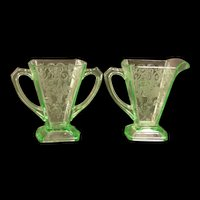 1930s Green Depression Indiana Lorain Basket Glass Creamer Sugar Bowl Pitcher