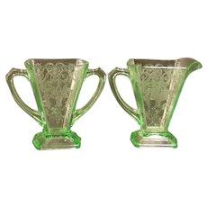 1930s Green Depression Indiana Lorain Basket Glass Creamer Sugar Bowl Pitcher