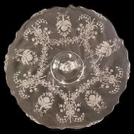 "1940's Heisey Orchid Etched Crystal Glass Sandwich Server Tray Waverly Dolphin 15"" Elegant Serving"