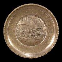 Antique Asian Bronze Horse Portrait Bas Relief Honey Bee Hallmark Plaque Charger