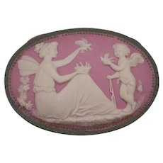 19c Art Nouveau Schafer Vater Jasperware Cherub Fairy Figure Dresser Jewelry Box